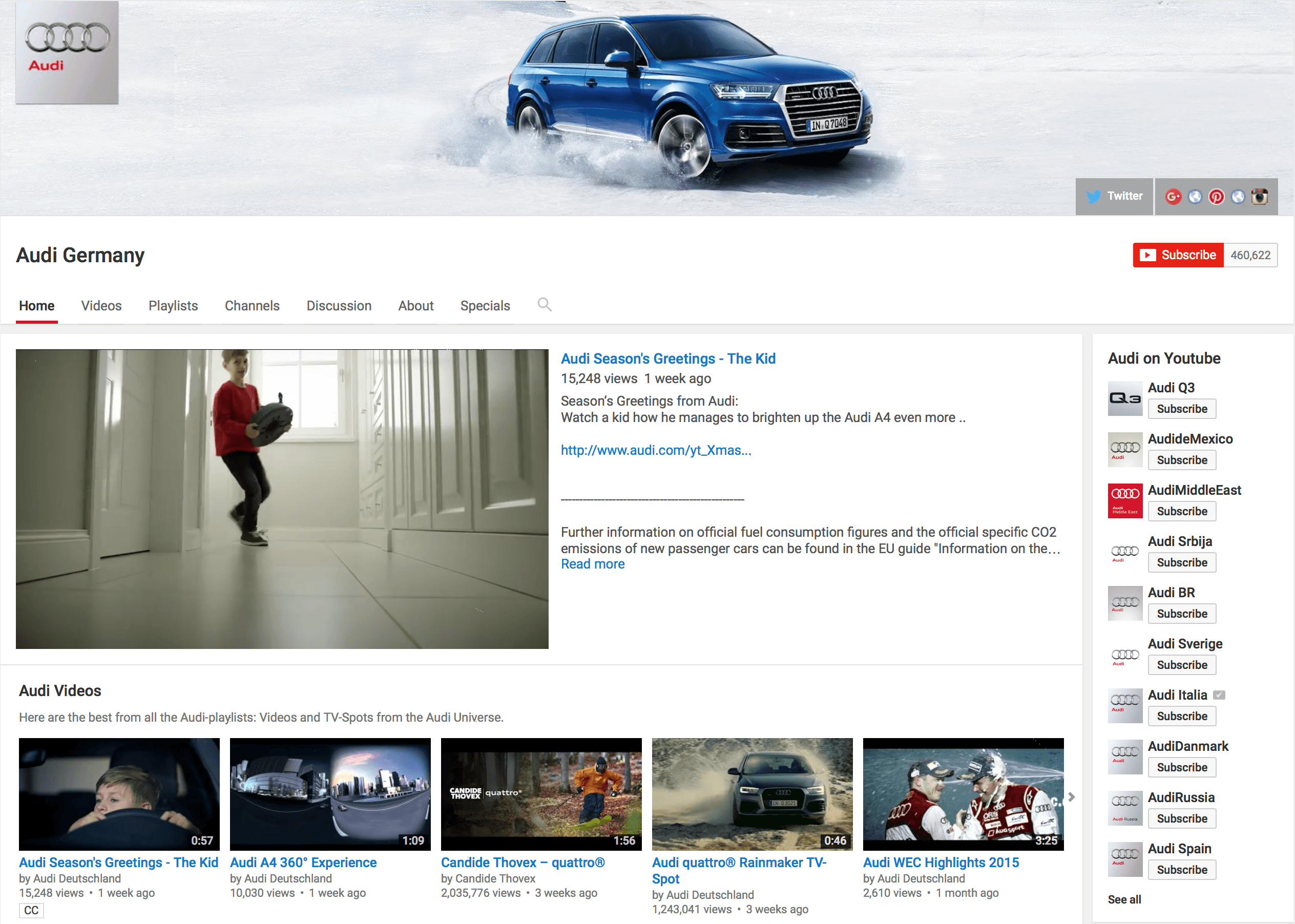 YouTube Kanal Audi