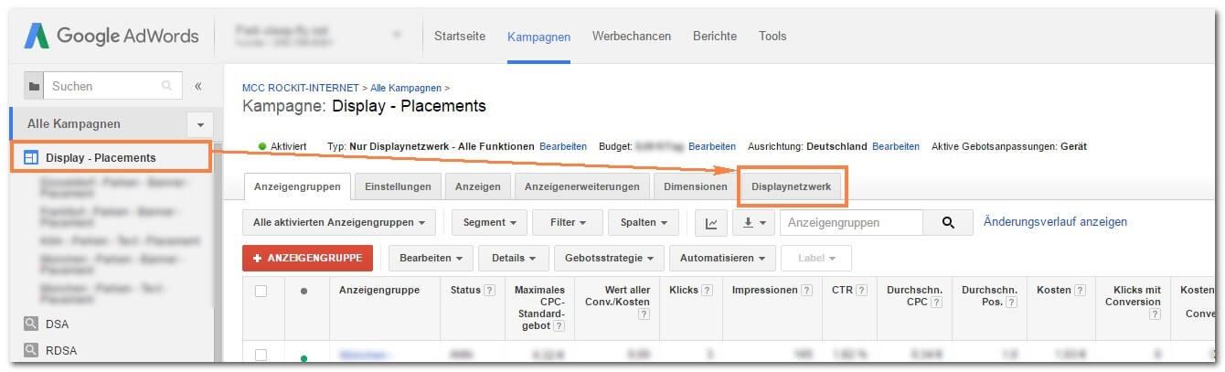 Schritt 1: Placements im Google Display Netzwerk ausschließen