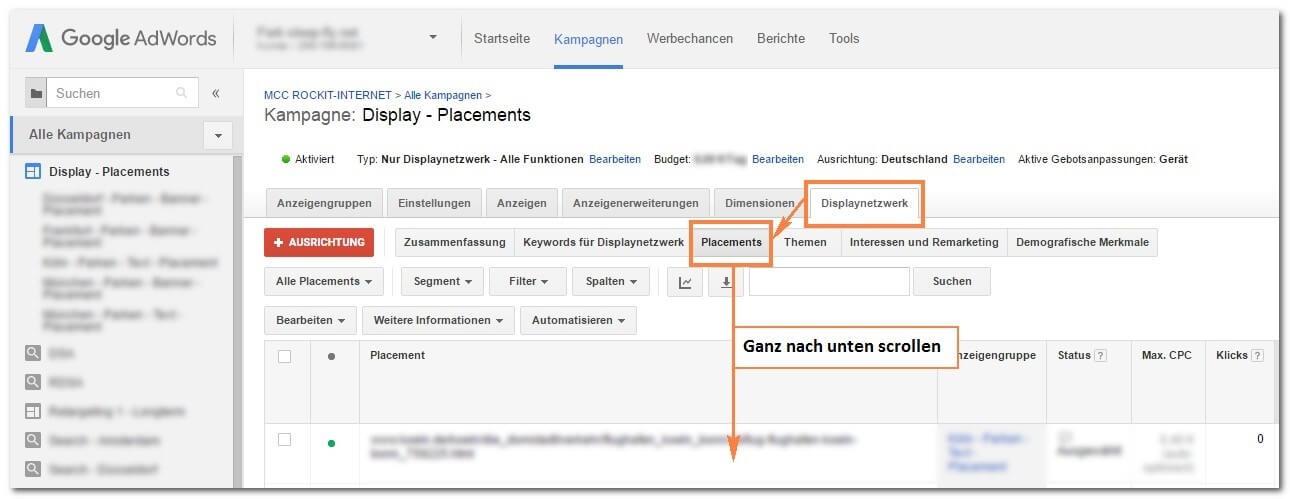 Schritt 2: Placements im Google Display Netzwerk ausschließen