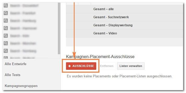Schritt 3: Placements im Google Display Netzwerk ausschließen