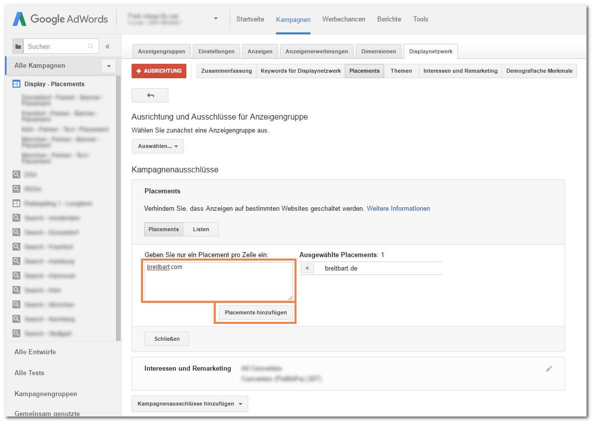 Schritt 4: Placements im Google Display Netzwerk ausschließen