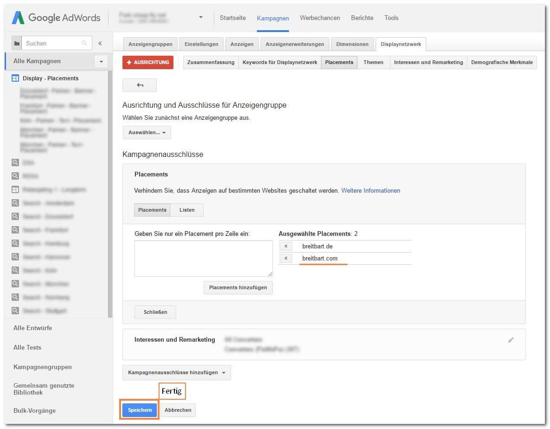 Schritt 5: Placements im Google Display Netzwerk ausschließen