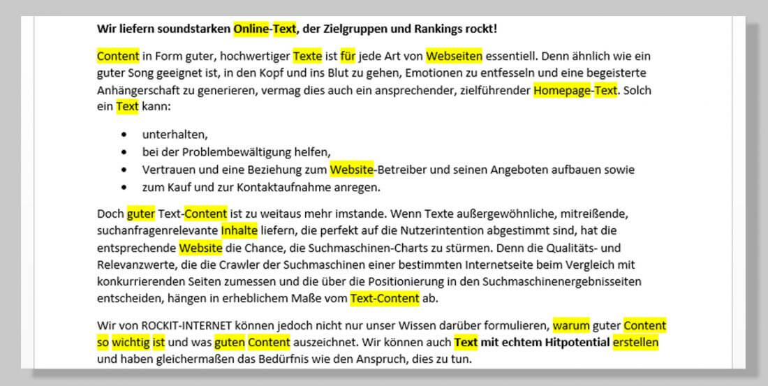 SEO Contenterstellung, Suchbegriffe, Text optimieren