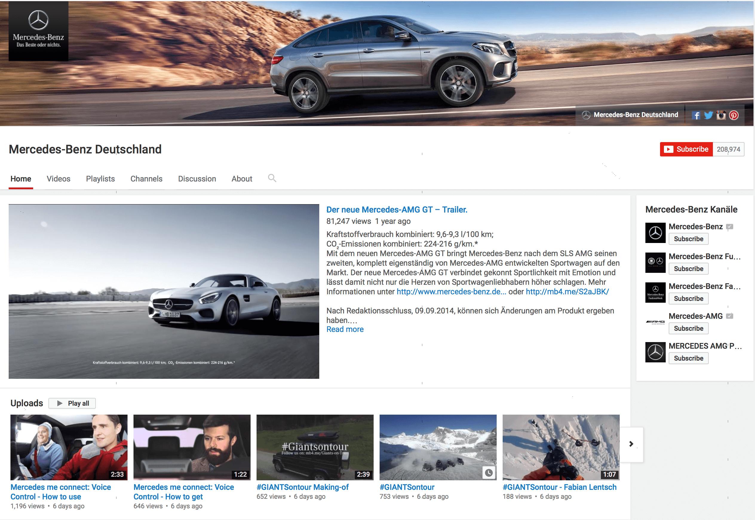 YouTube Kanal Mercedes
