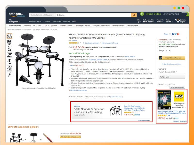 Product Display Ads, Amazon, Werbung, Anzeigen, Werbeanzeigen, Ads