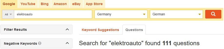 Keyword Recherche, Tool
