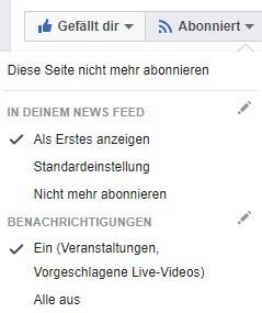 Facebook Beiträge abonnieren, Beiträge im Newsfeed anzeigen