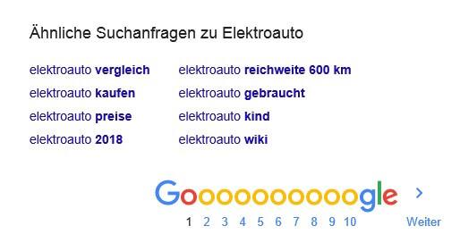 Keyword Receherche, Ähnliche Suchanfragen, Google