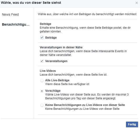 Benachrichtigungen einstellen, Facebook Newsfeed einstellen