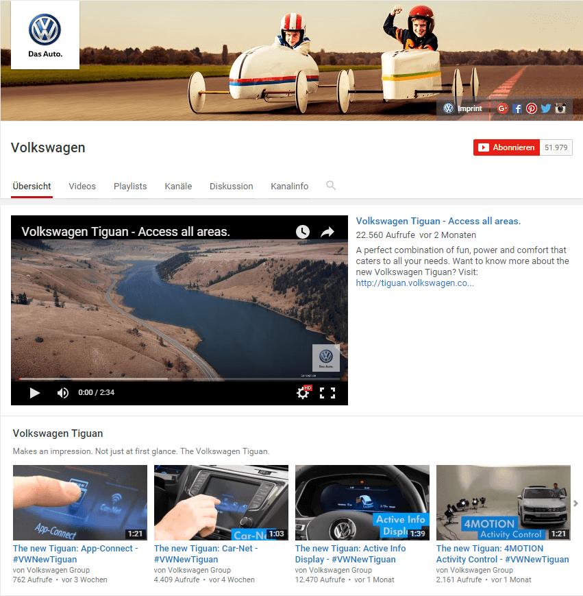 YouTube Kanal Volkswagen