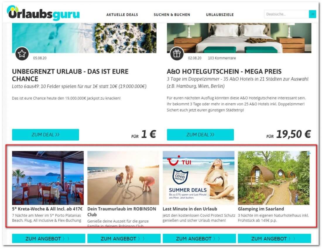 Beispielbild - Native Ads auf Urlaubsguru.de