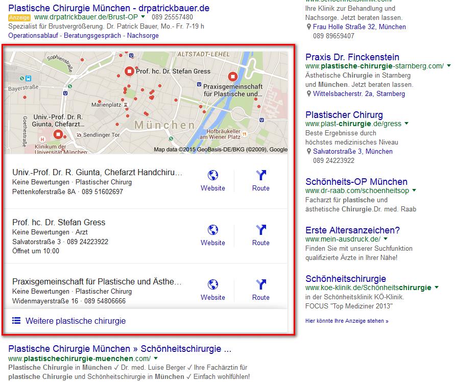 Local Pack Ergebnis mit 3 Einträge in Google