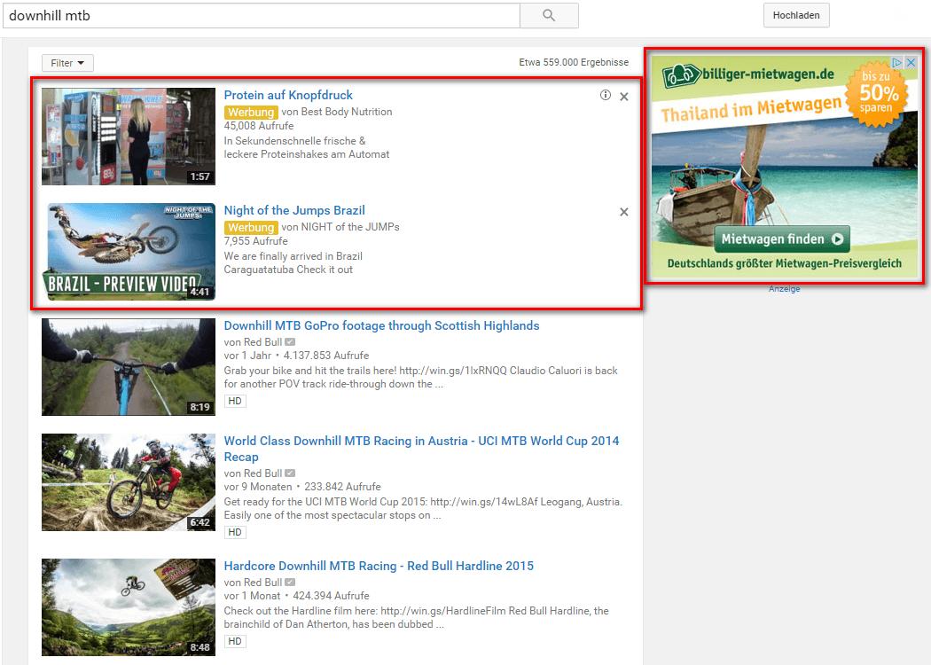YouTube Werbung Display-Anzeigen