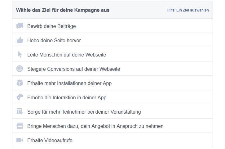 Ziele Facebook Kampagnen